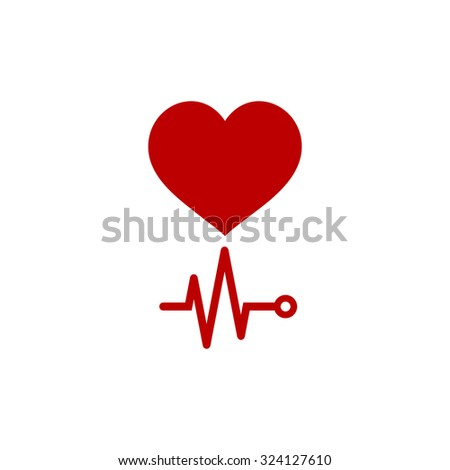 Simple Heart with its cardiogram. Red flat icon. Illustration symbol on white background