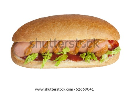 simple hot dog with ketchup and mustard and parsley image isolated on a white background