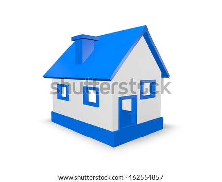 Simple house 3D illustration.