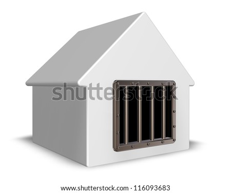 simple house with prison window - 3d illustration