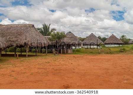 Simple houses in an indigenous village in Gran Sabana region of Venezuela