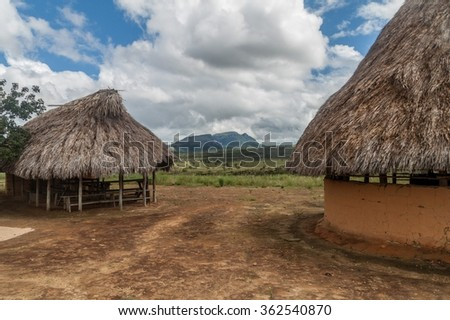 Simple houses in an indigenous village in National Park Canaima, Venezuela