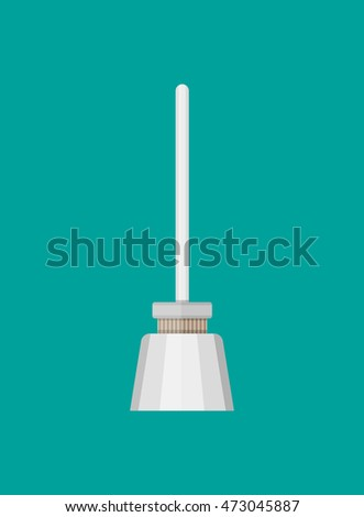 Simple icon of toilet brush. isolated on green background. illustration in flat style