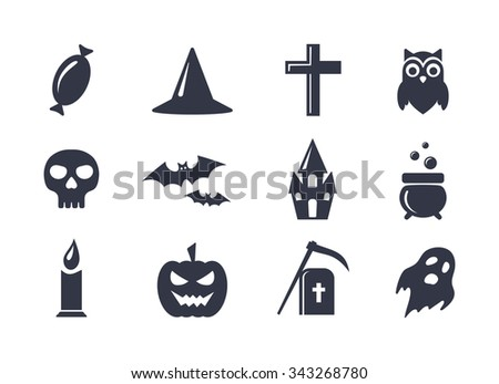Simple icons set for Halloween. Elements collection for 31 october party. Candy, skull, bats, grave, owl, ghost, pumpkin, castle and cauldron icons. Halloween symbols. - stock photo