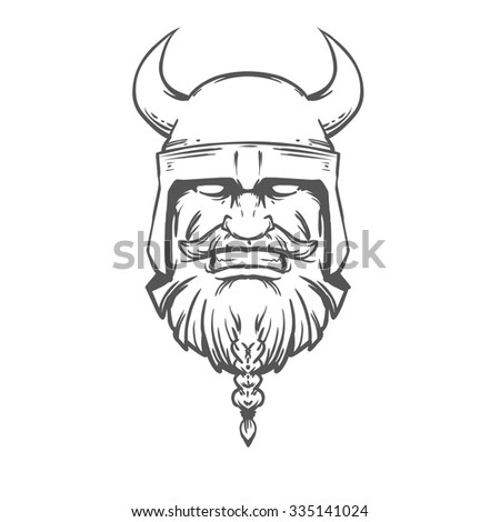 simple illustration for logo, viking head, front view, angry, sport team - stock photo
