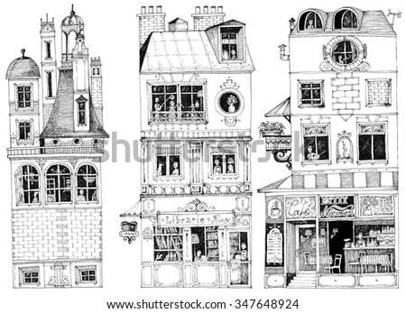 simple illustration french city houses shops apartments book shop coffee shop - stock photo