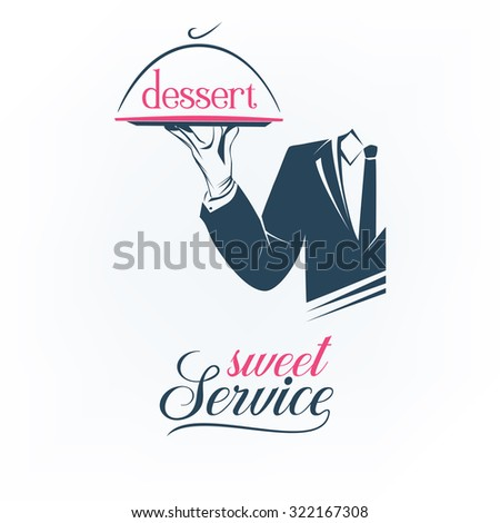 Simple  illustration logo, isolated. Waiter holds a tray with a dessert sign over white background. Sweet service sign. Classic banner or label for any business.  - stock photo