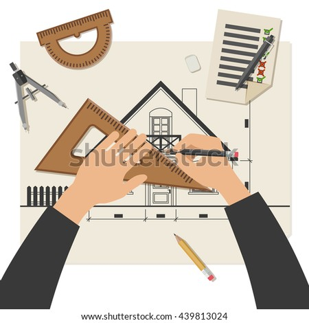 Simple illustration of blueprints with professional drawing equipment. Architect at work. Raster version - stock photo