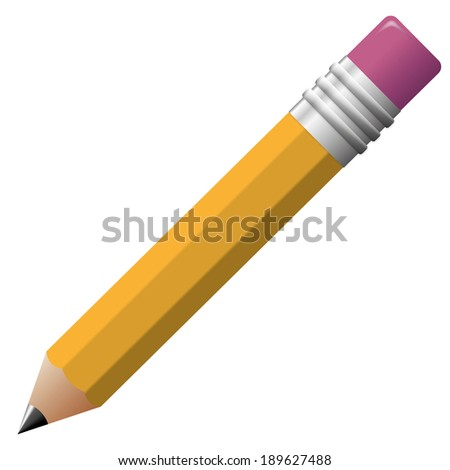Simple illustration of classic pencil with rubber on top