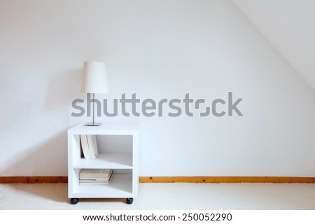 simple interior of white room - stock photo
