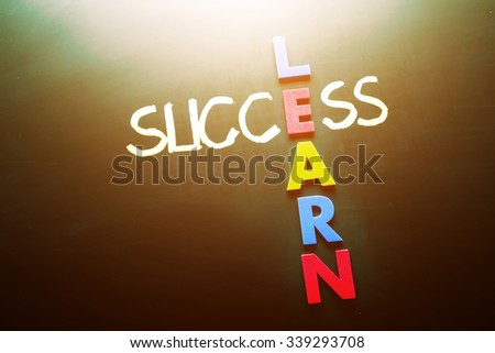 Simple Learn and Success Concept Formed in Cross with Dark Chalkboard Background.