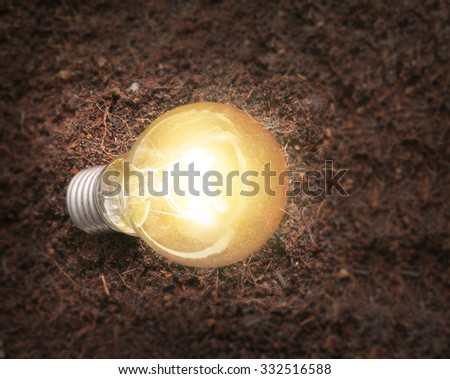 simple light bulbs on brown background - stock photo