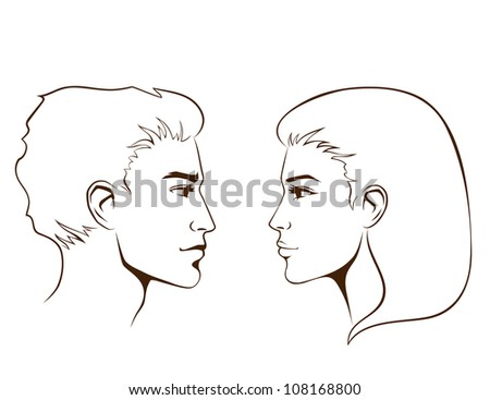 simple line illustration of beautiful young woman and man from profile - stock photo