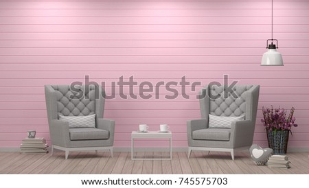 Simple Living Roomarmchair Front White Wall Stock Illustration ...