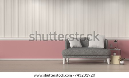 Simple Living Room Gray Sofa In Front Of White And Pink Wall Interior Design 3D Illustration