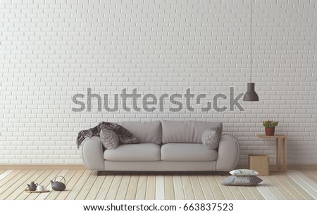 Simple Living Room Sofa And Furniture Set Interior Design 3D Illustration In Front Of White Wall
