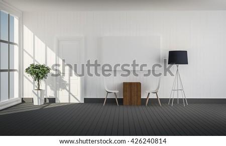 simple living room with white door 3d rendering  - stock photo