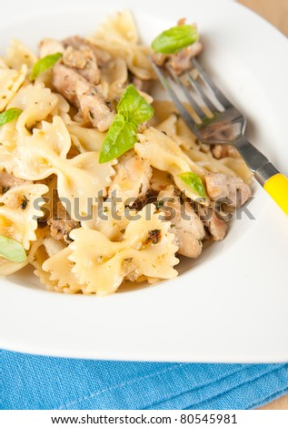 Simple Lunch of Chicken and Pasta - stock photo