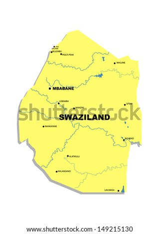 Simple map of Swaziland - stock photo