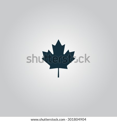 Simple maple leaf. Flat web icon or sign isolated on grey background. Collection modern trend concept design style  illustration symbol - stock photo