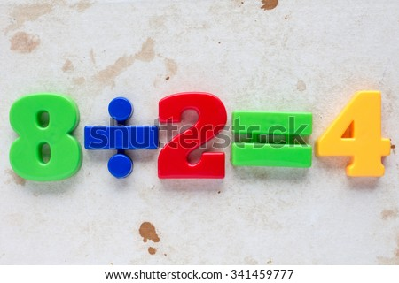 Simple math division formula on old paper background