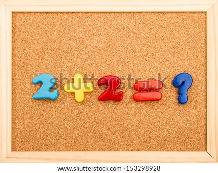 Simple mathematic addition with unknown result  - stock photo