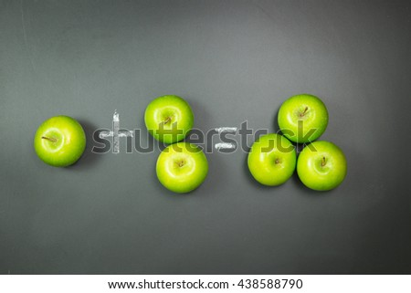 Simple mathematic using green apples on chalkboard - stock photo