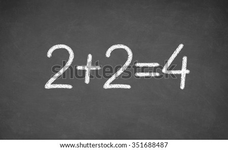 simple mathematical equation. two plus two equals four. closeup