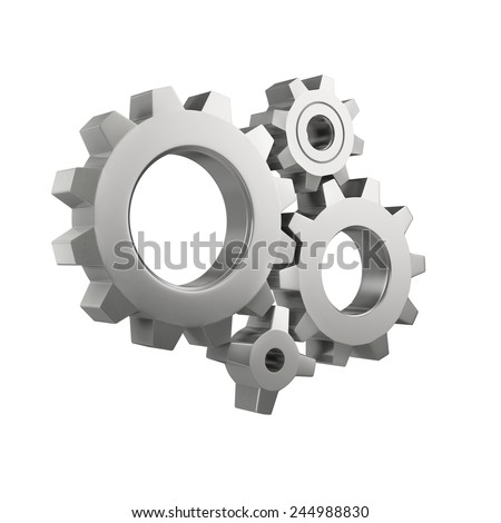 simple mechanical system with gear wheels isolated on a white background - stock photo