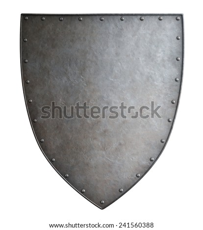 Simple medieval coat of arms metal shield isolated - stock photo