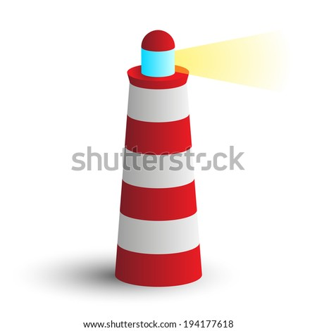 simple modern icon red lighthouse with beam of light - stock photo