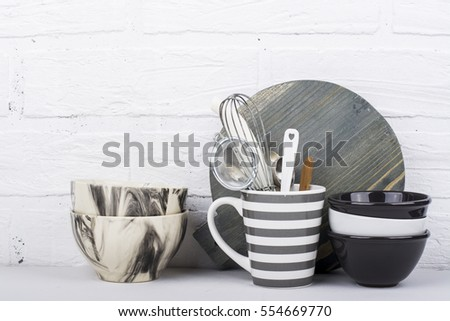Simple Modern Kitchen Still Life In Monochrome Marble Bowls, Gray Striped  Circle, Round Cutting