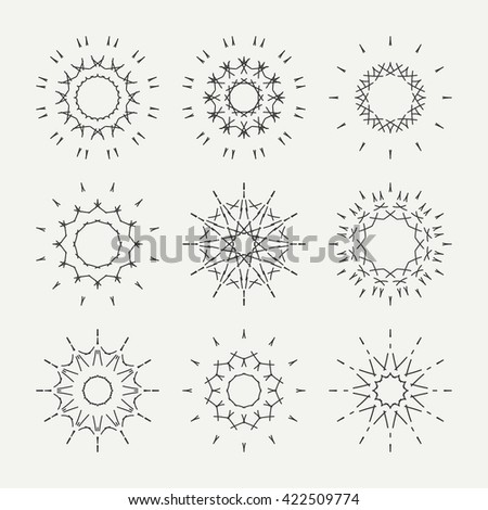 Simple monochrome geometric abstract symmetric shapes set. Modern business icon collection. Logo template. Hexagon round ornament. Symbols, emblems, element and logotypes. - stock photo