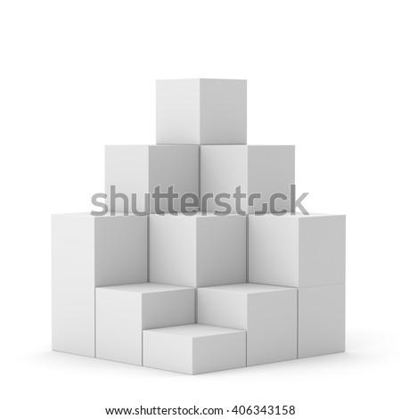 simple multi-box display. 3D rendering - stock photo