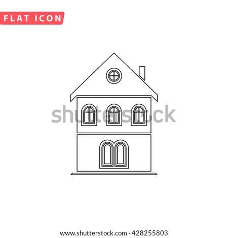 Simple Old House Black Outline Pictogram On White Line Icon