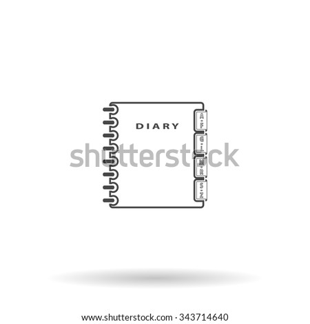 Simple organizer. Flat icon on grey background with shadow - stock photo