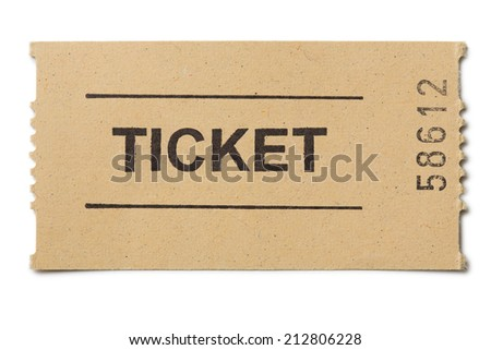 Simple paper ticket isolated on white - stock photo