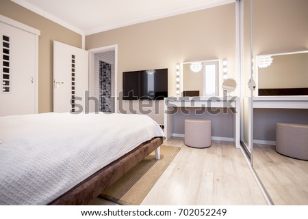 Simple Pastel Bedroom TV Screen White Stock Photo 100 Legal