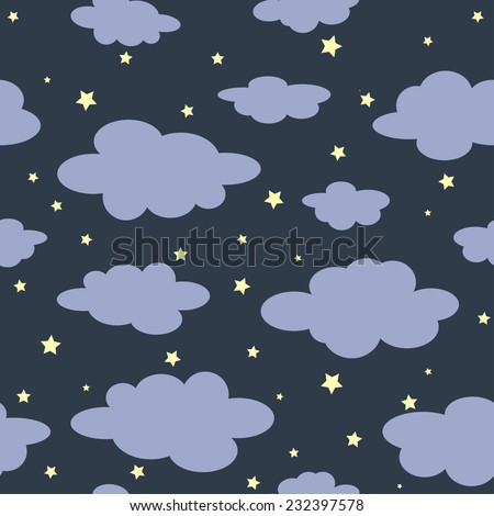 Simple pastel seamless night background with cartoon clouds and stars