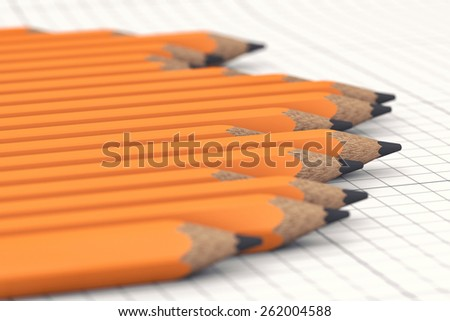 Simple pencils in the form of the schedule on a paper - stock photo