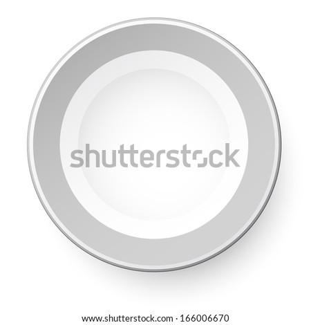 Simple plate. View from above. Isolated on white background. Raster illustration. - stock photo