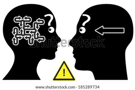 Simple Question. Man and woman have different communication pattern regarding questions or answers - stock photo