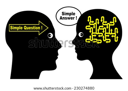 Simple Question Simple Answer. Men and women seem to have different question and answer pattern causing communication problems - stock photo
