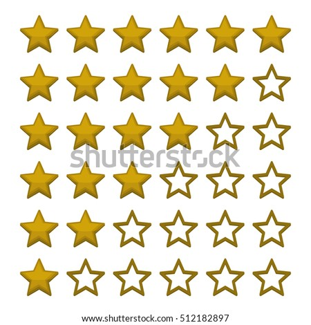 Simple Rating Stars on White background. illustration