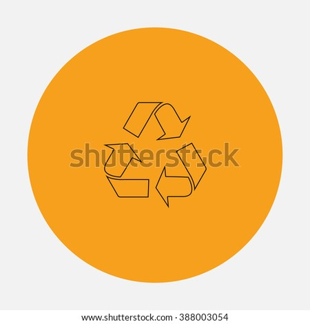 Simple Recycling. Simple flat icon on orange circle