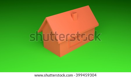 simple red house - 3D illustration - stock photo