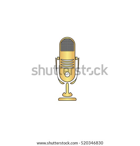 Simple retro microphone. Flat gold icon with black stroke. Simple illustration on white background