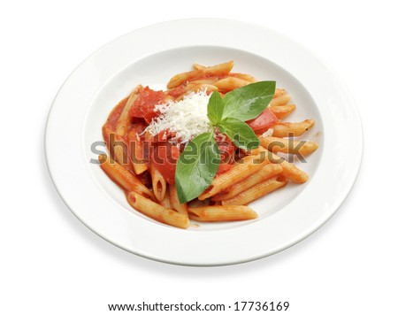 Simple rigatoni pasta dish with tomato sauce