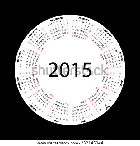 Simple round calendar for 2015 year on black background. - stock photo