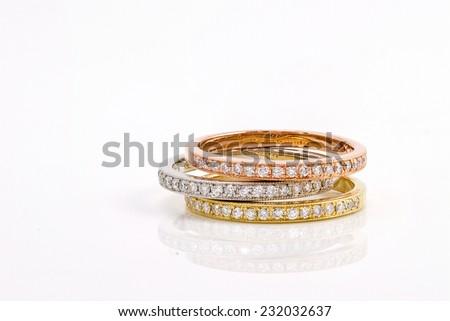 simple round jewelry.Diamond rings isolated